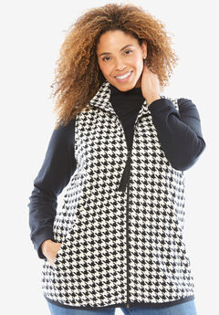 Vest in soft, cozy anti-pilling fleece, IVORY HOUNDSTOOTH, hi-res