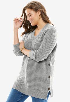 Button V-Neck Sweater, HEATHER GREY