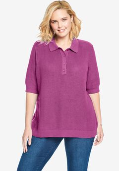Elbow-Sleeve Polo Shaker Sweater,