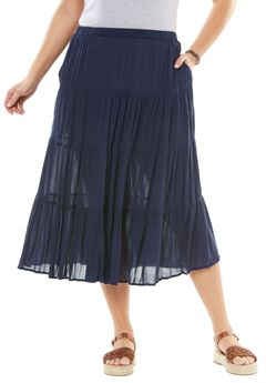 Crinkle skirt, NAVY, hi-res