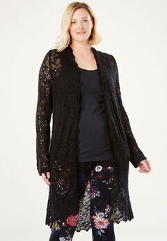 Pointelle Duster Cardigan by Chelsea Studio®, CLASSIC BLACK, hi-res
