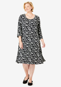 A-Line Three-Quarter Sleeve Knit Dress,