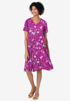 Short Crinkle Dress, RASPBERRY WIPSY BOUQUET