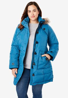 Heathered, hooded down puffer coat,