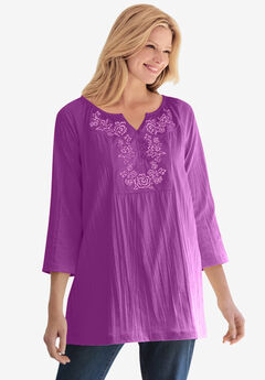 Embroidered Crinkle Tunic, PURPLE MAGENTA ROSE EMBROIDERY