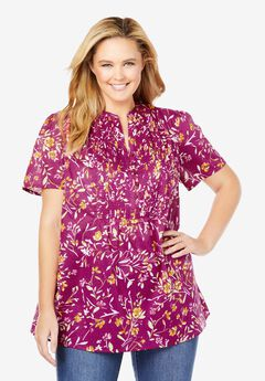 Pintucked Half-Button Tunic, RASPBERRY BLOOM FLORAL