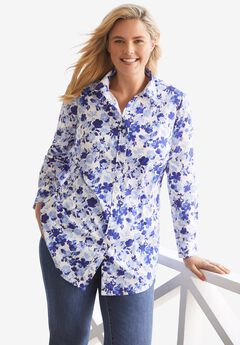 Perfect Long-Sleeve Button Down Shirt, ULTRA BLUE SHADOW FLORAL