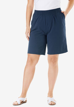 Knit shorts with scoop pockets, full elastic waist, NAVY, hi-res