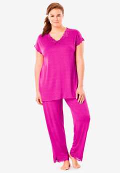 Lace Trim Pajama Set by Amoureuse®,