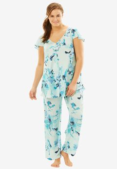 Luxe Satin PJ Set by Amoureuse®, FRESH AQUA FLORAL, hi-res