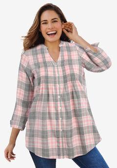 Pintucked Flannel Shirt, PLUM BURST PLAID