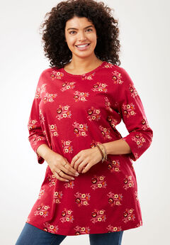Perfect Printed Three-Quarter Sleeve Tunic, CHERRY FLORAL