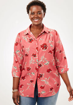 Cuffed Sleeve Peachskin Button Down Shirt, ROSE BLOOM TOSSED FLORAL, hi-res