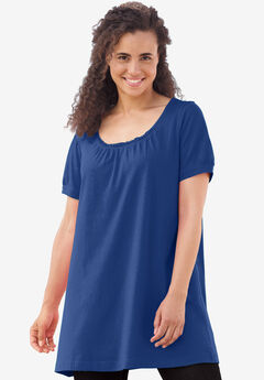 Perfect Shirred U-Neck Tunic, DARK SAPPHIRE, hi-res