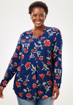 Tab-Front Long Sleeve Shirt, EVENING BLUE TOSSED FLORAL