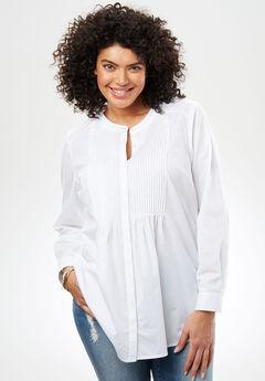 Perfect Pintuck Shirt, WHITE, hi-res