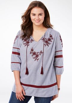 Embroidered Peasant Top with Ties, EVENING BLUE EMBROIDERED STRIPE, hi-res