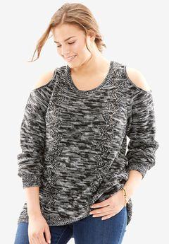 Cold Shoulder Pullover Sweater, BLACK WHITE, hi-res