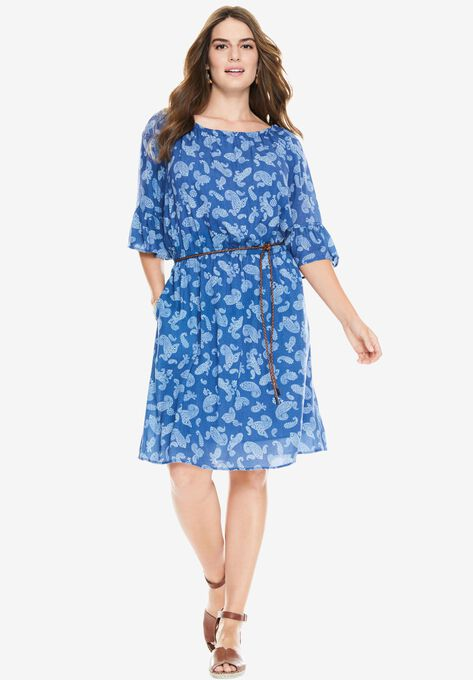 Elbow sleeve gauze peasant dress