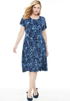 Short sleeve knit fit-and-flare dress, NAVY FLORAL, hi-res