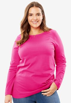 Perfect Long Sleeve Crewneck Tee, PASSION PINK, hi-res