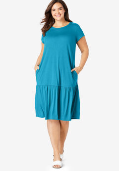 Flounced Hem T-Shirt Midi Dress,
