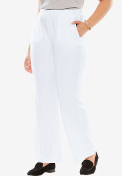 7-Day Knit Wide Leg Pant, WHITE, hi-res