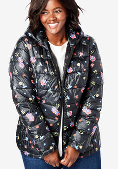 Packable Puffer Jacket, BLACK FLORAL