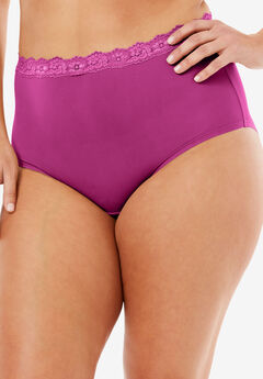 Lace-Trim Microfiber Full-Cut Brief by Comfort Choice®, BRIGHT BERRY