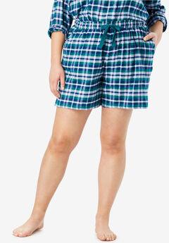 Flannel Pajama Short by Dreams & Co.®, ROYAL JADE PLAID