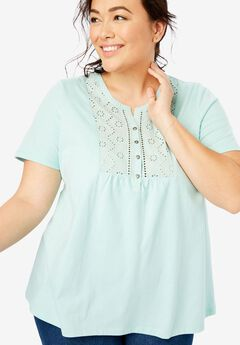 Top in soft knit with eyelet embroidery,