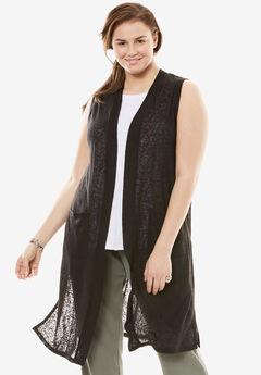 Open Front Knit Vest,