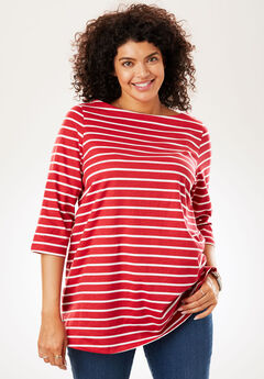 Perfect Boatneck Tee, CLASSIC RED WHITE STRIPE