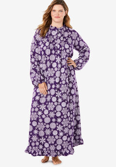 Long Flannel Nightgown by Only Necessities®, RICH VIOLET SNOWFLAKE