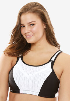Underwire Sport Bra by Glamorise®, WHITE BLACK, hi-res