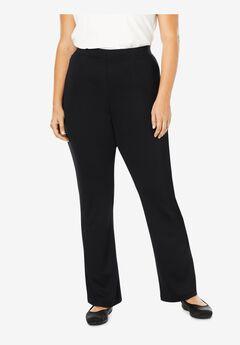 Bootcut Ponte Knit Stretch Pants, BLACK, hi-res