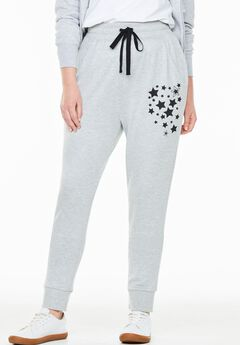 French Terry Jogger, HEATHER GREY BLACK STAR, hi-res