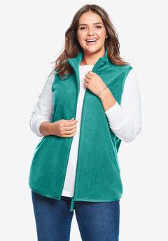 Zip-Front Microfleece Vest, WATERFALL