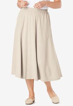 7-Day Knit A-Line Skirt, NATURAL KHAKI