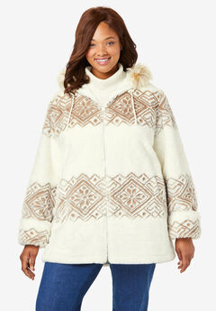 Faux Fur Snowflake Print Hooded Jacket,