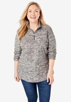Quarter-Zip Microfleece Pullover, BLACK MARLED