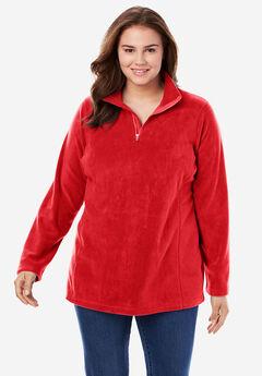 Quarter-Zip Microfleece Pullover, ELECTRIC RED