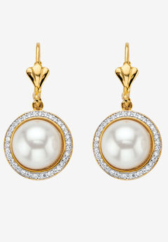 Gold-Plated Simulated Pearl and Cubic Zirconia Halo Drop Earrings,