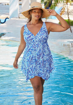 Handkerchief-Hem Swim Dress,