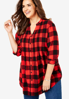 Pintucked Flannel Shirt, VIVID RED PLAID