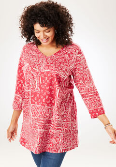 Printed V-Neck Perfect Tunic, CHERRY PATCHWORK