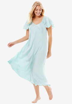 The Luxe Satin Flutter-Sleeve Long Nightgown by Amoureuse®,