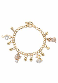 Gold Tone Round Crystal Cat Charm Bracelet, 7.5 inches,