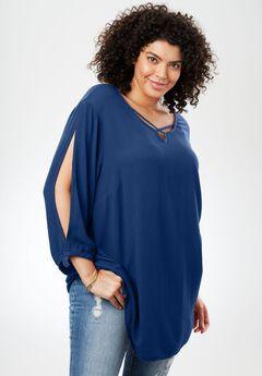 Textured Gauze Shirt, EVENING BLUE