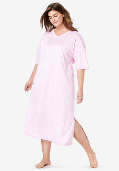 Long Marled Sleepshirt by Dreams & Co.®, LIGHT ORCHID